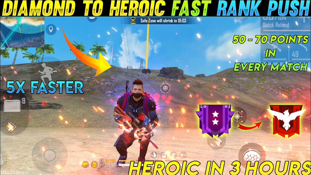 Diamond to heroic fast rank push in 3 hours   How to push rank in Free fire   Player 07