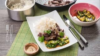 Говядина в имбирном соусе с рисом. Доставка продуктов с рецептами Шефмаркет