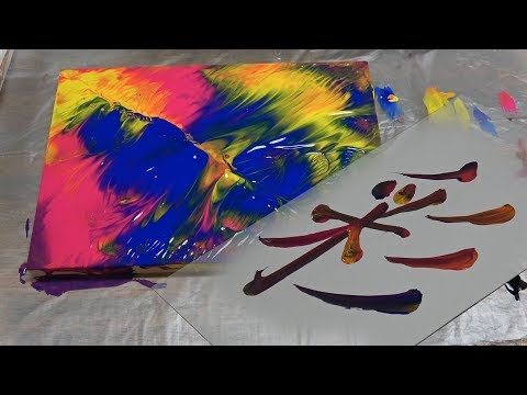 "【Fluid Painting】Test work ""Colorful Calligraphy"" technique. 【Fluid Art】【Moving Colors】"