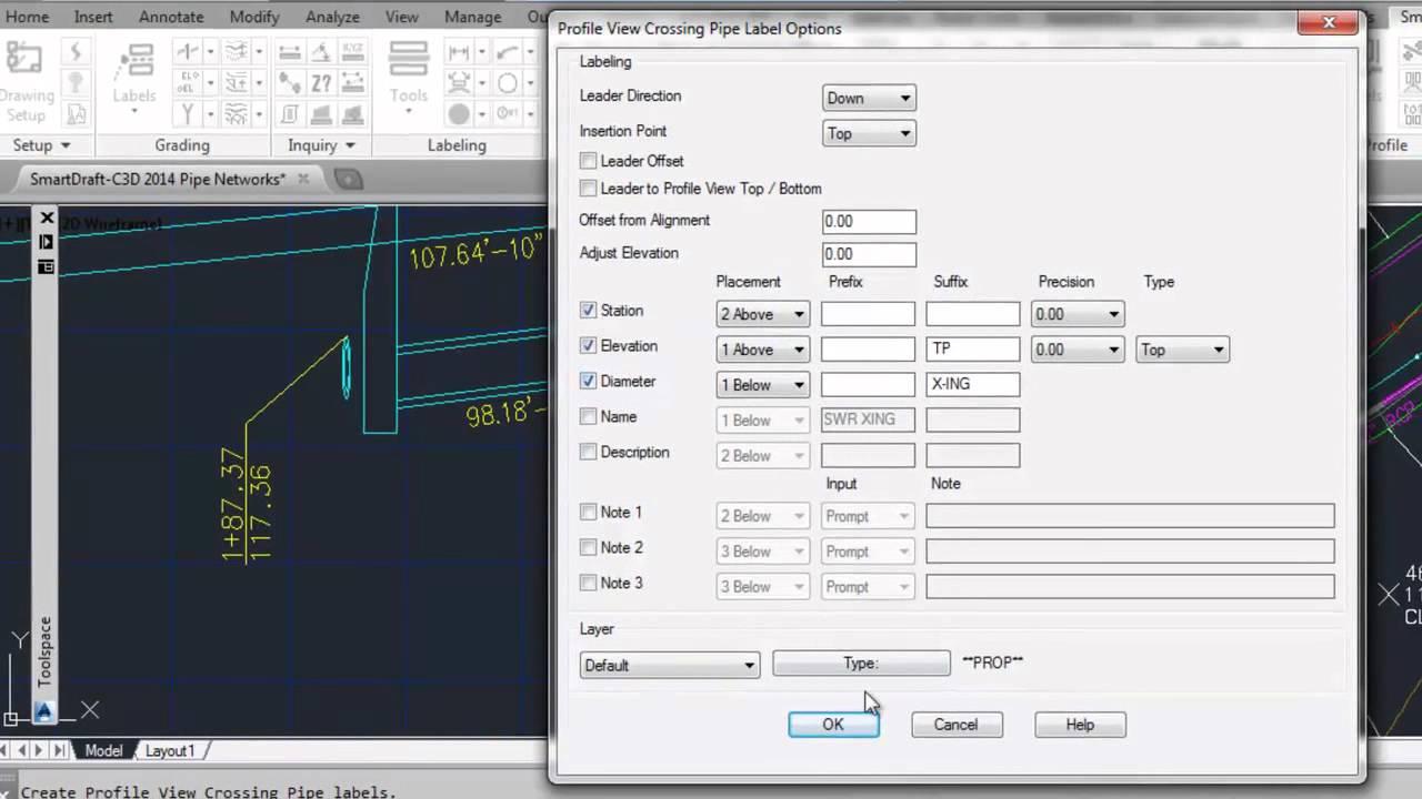 SmartDraft Profile View Crossing Pipe Label for Civil 3D