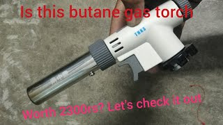 My first review of my portable butane flame gun or gas torch and gas burner in telugu