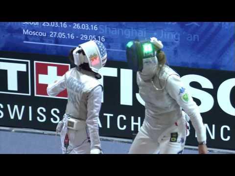 FE W F Individual Shanghai CHN GP 2016 Semifinal 01 podium BATINI ITA vs KIEFER USA