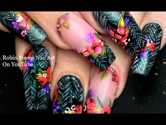 Winter Diva Nails | Flower Nail Art on Faux Herringbone Tweed Nail Design
