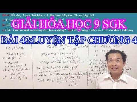 Giải bài tập Hóa 9 Bài 42 Luyện tập  chương 4 Hidrocacbon Nhiên liệu