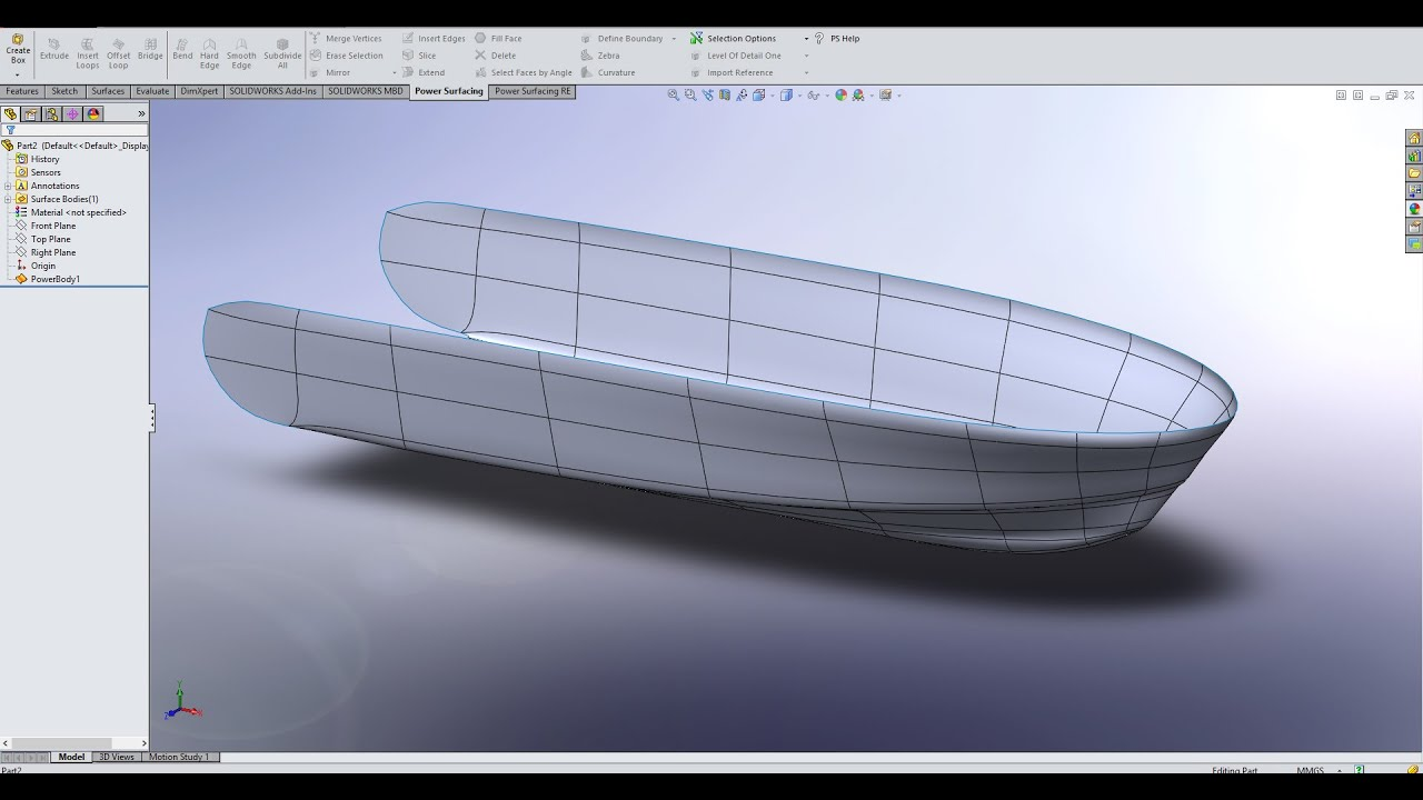 Hull Design In Solidworks Power Surfacing Part 2 Youtube