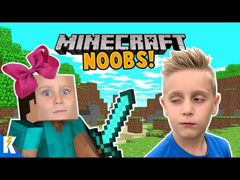 Minecraft NOOBS! Ava And Little Flash Play Minecraft For The First Time! KIDCITY GAMING