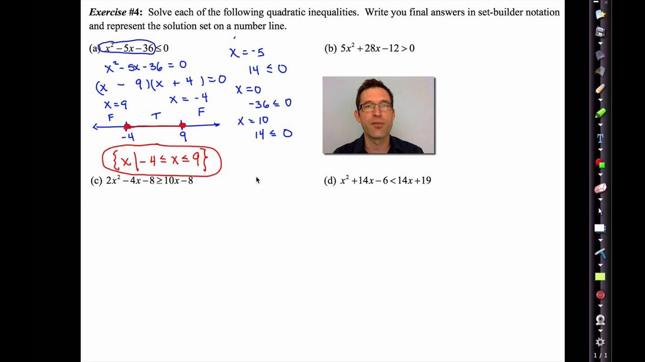 Printables Functions Solving Quadratic Inequalities In One Variable Worksheet common core algebra ii unit 6 lesson 7 quadratic inequalities of one variable