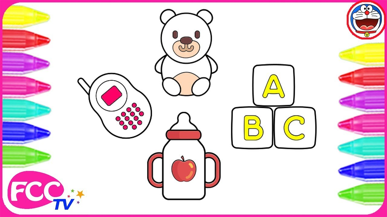 Baby Toys Drawing : How to color learn draw baby toys coloring pages for