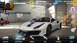 488 pista spider max tune  and how it does when live racing CSR2