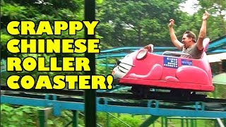 Yet Another Crappy Chinese Wild Mouse Roller Coaster! Front Seat POV