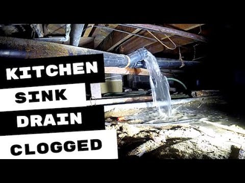 CLOGGED KITCHEN SINK DRAIN LINE CLEARED OF BLOCKAGE