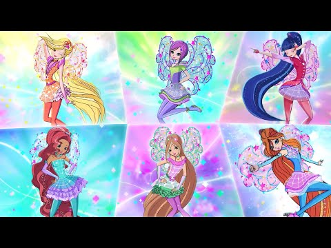 Winx Club: All Full Transformations Up To Cosmix In Split Screen + Prototype Transformations!