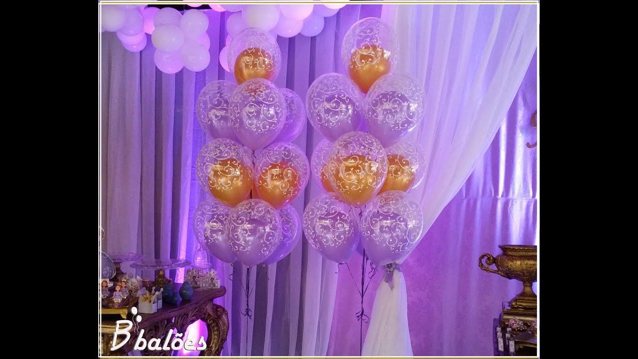 Decoraç u00e3o de aniversário Tema Sofia com balões de gás helio YouTube -> Decoração De Aniversário Princesa Sofia