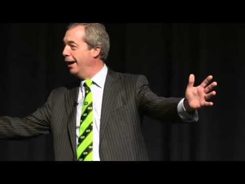 Founding member of Grassroots out, Nigel Farage MEP at the event in Manchester