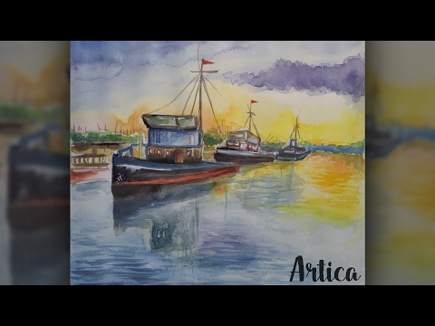 Watercolor Boat Painting Tutorial – Easy Boat Landscape