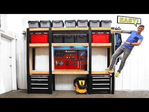 Simple DIY Garage Storage Shelves W/ Workbench | FREE PLANS