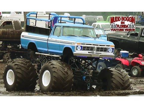 "Monster Trucks in Mud  ""Invade""  the Mud Bog."