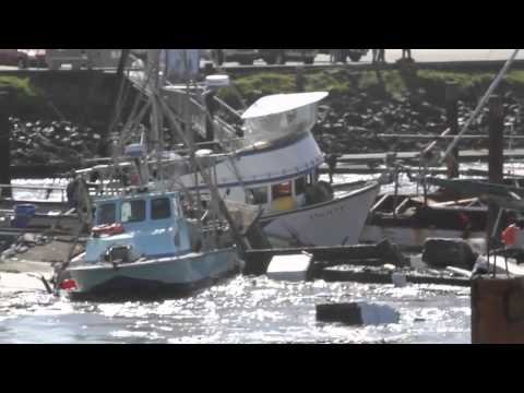 Tsunami destroys Crescent City Harbor 3/11/11 (HD)