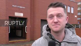 UK: Tommy Robinson arrives at court for hearing in football banning order case