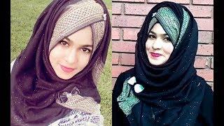 Eid Special - Most Elegant Layer Hijab Style with Trim Bordered Hijab || FARSHI || MUNA