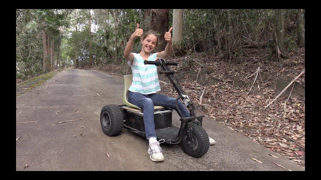Girl Converts A Golf Buggy Into A Fun Electric Go Kart