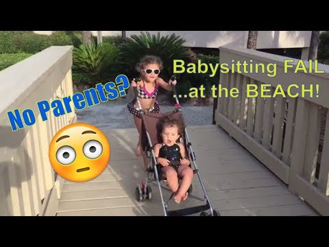 Babysitting Disaster FAIL at the BEACH SKIT! Girls go to Pool and Beach..Spring Break FUN!