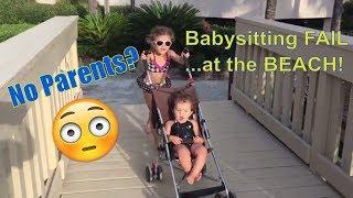 Babysitting Disaster FAIL at the BEACH SKIT! Girls go to Pool and Beach..Spring Break FUN!