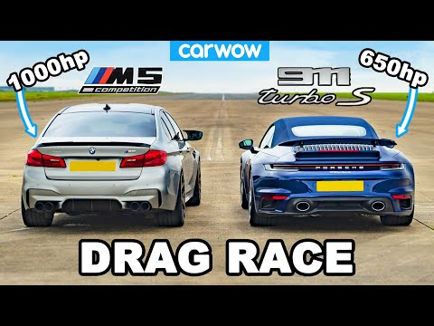 BMW M5 1,000hp vs Porsche 911 Turbo S – DRAG RACE