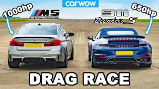 BMW M5 1,000hp vs Porsche 911 Turbo S - DRAG RACE
