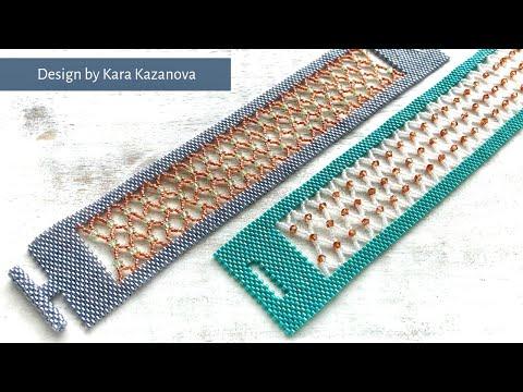 Caged Lace bracelet tutorial | Peyote + Netting | Beaded Bracelet