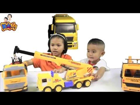 รีวิวของเล่น รถเครน รถยกท่อ - Construction Crane Toy for children