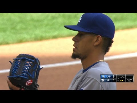 LAD@MIL: Frias strikes out six in five innings