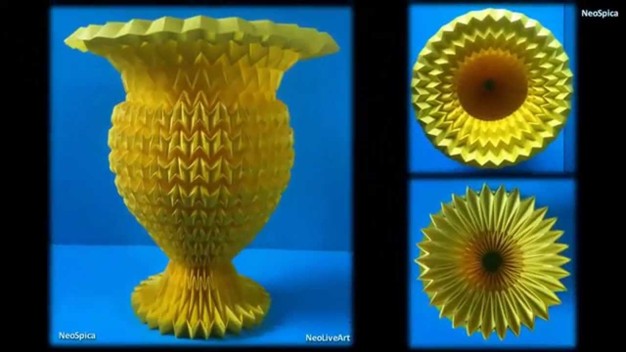 Flower vase paper with acrylic enamel fold origami youtube reviewsmspy