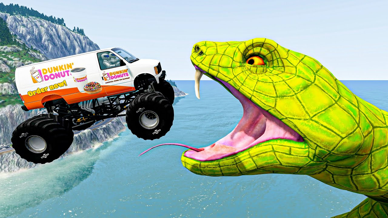 BeamNG Drive Fun Madness #71 Crazy Vehicle Huge Jumps Into Giant Toilet with Snake