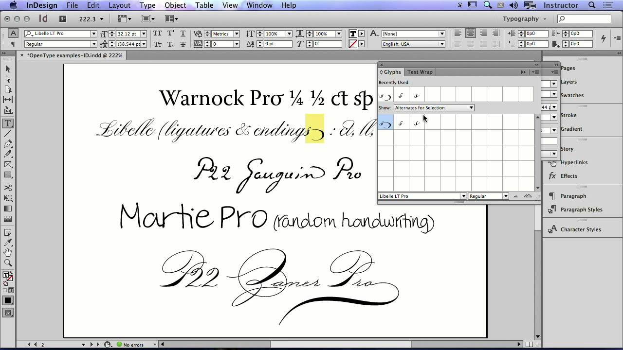 How to Use the Glyphs Panel to Replace Font Characters in Adobe InDesign