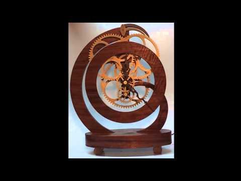 Wooden geared clock