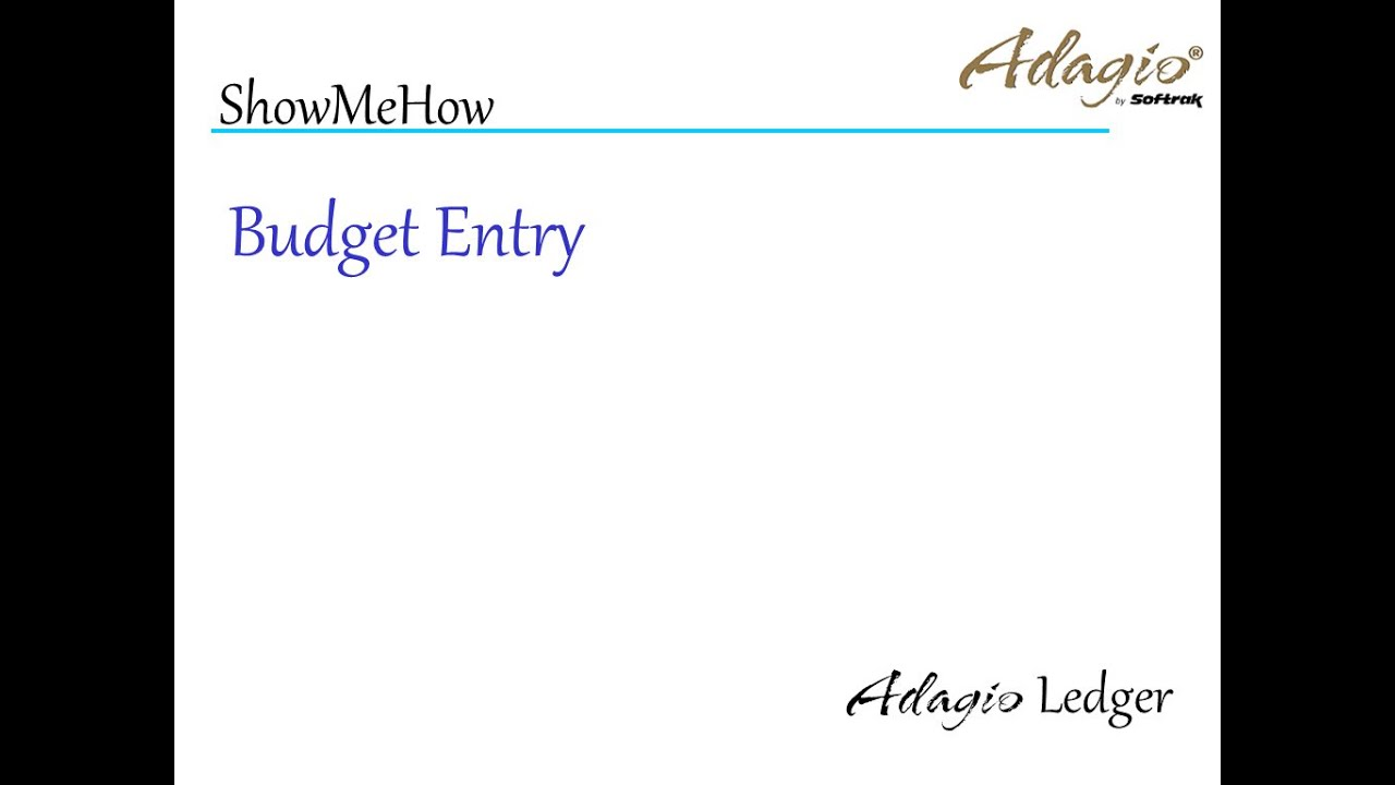 adagio ledger budget entry youtube