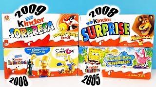 СТАРЫЕ Киндер Сюрпризы СИМПСОНЫ,Мадагаскар,ГУБКА БОБ,Looney Tunes,SpongeBob Kinder Surprise unboxing