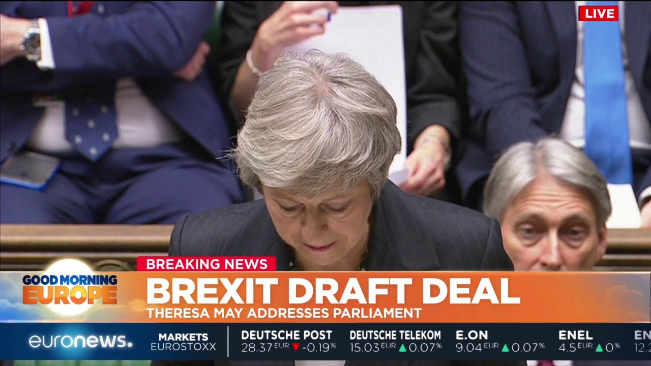 Theresa May addresses Parliament about the Brexit Draft deal