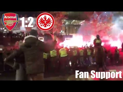 Banned Frankfurt Fans Support Their Team From Outside The Emirates Stadium