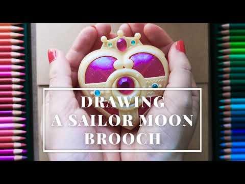 Drawing a Magical Girl Brooch   🎀 Sailor Moon Fanart 🎀   Color Pencils on Toned Paper