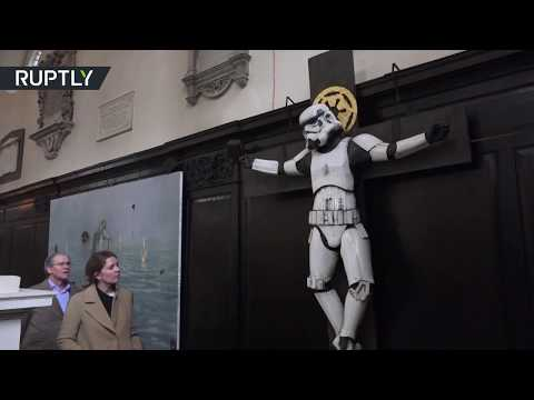 Dark Side of the Church: Stormtrooper crucified in London
