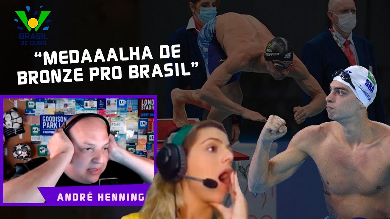 MEDALHA DO BRASIL! ANDRÉ HENNING NARRA CHEGADA EMOCIONANTE DO BRONZE NA NATAÇÃO - CORTES TNT SPORTS