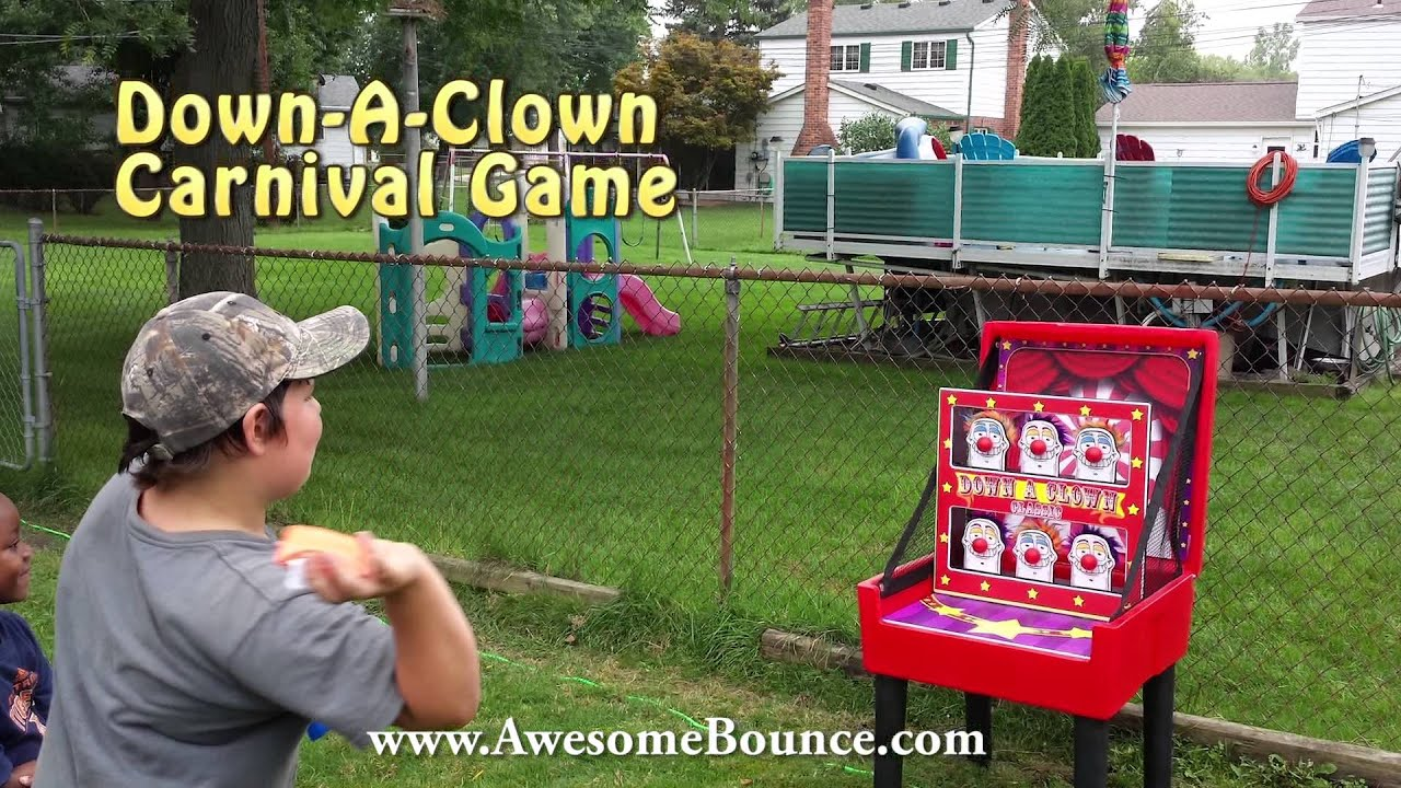 down a clown carnival game clown knocked down awesomebounce com