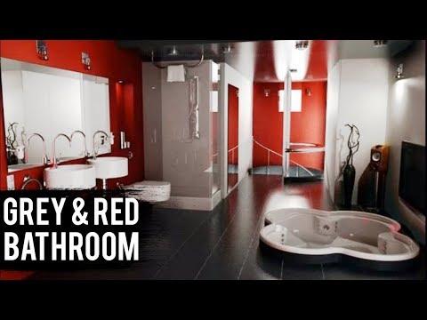 Grey red bathroom designs