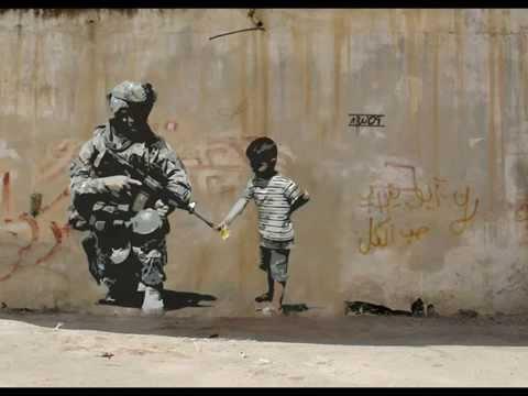 New Street art by Banksy . Famous graffiti wall art by british artist Banksy