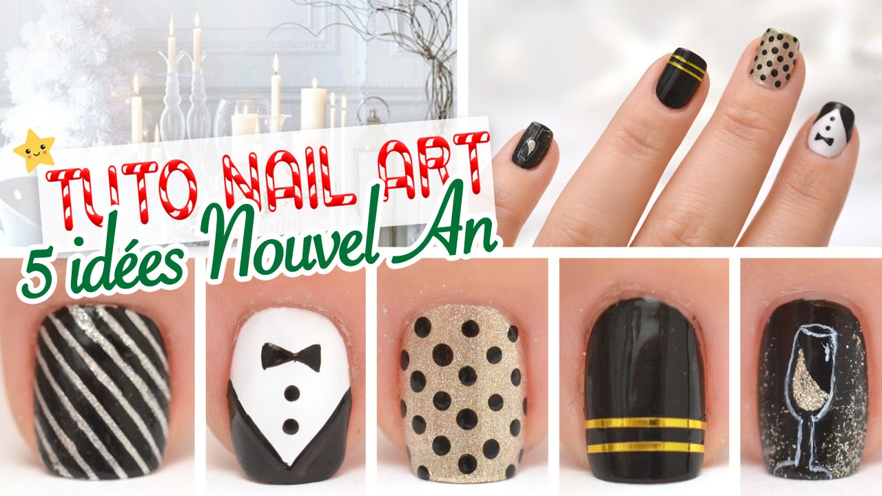 Nail art 5 id es nouvel an youtube - Nail art nouvel an ...
