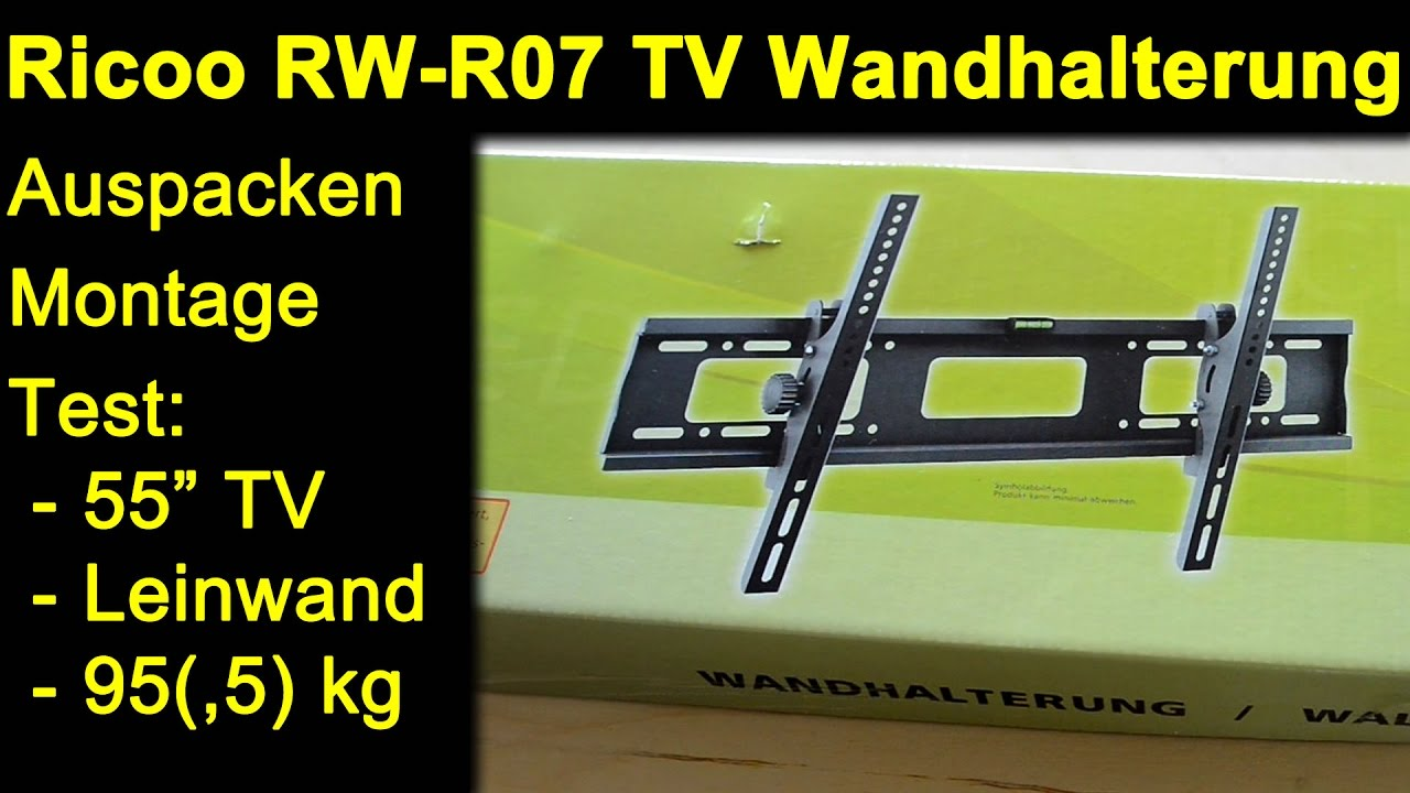 ricoo rw r07 tv wandhalterung auspacken montage review. Black Bedroom Furniture Sets. Home Design Ideas