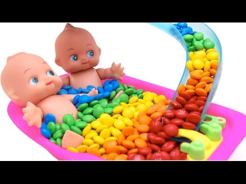 Thumbnail: Baby Doll Bath With Learn Colors M&Ms Nursery Rhymes Finger Song For Kids