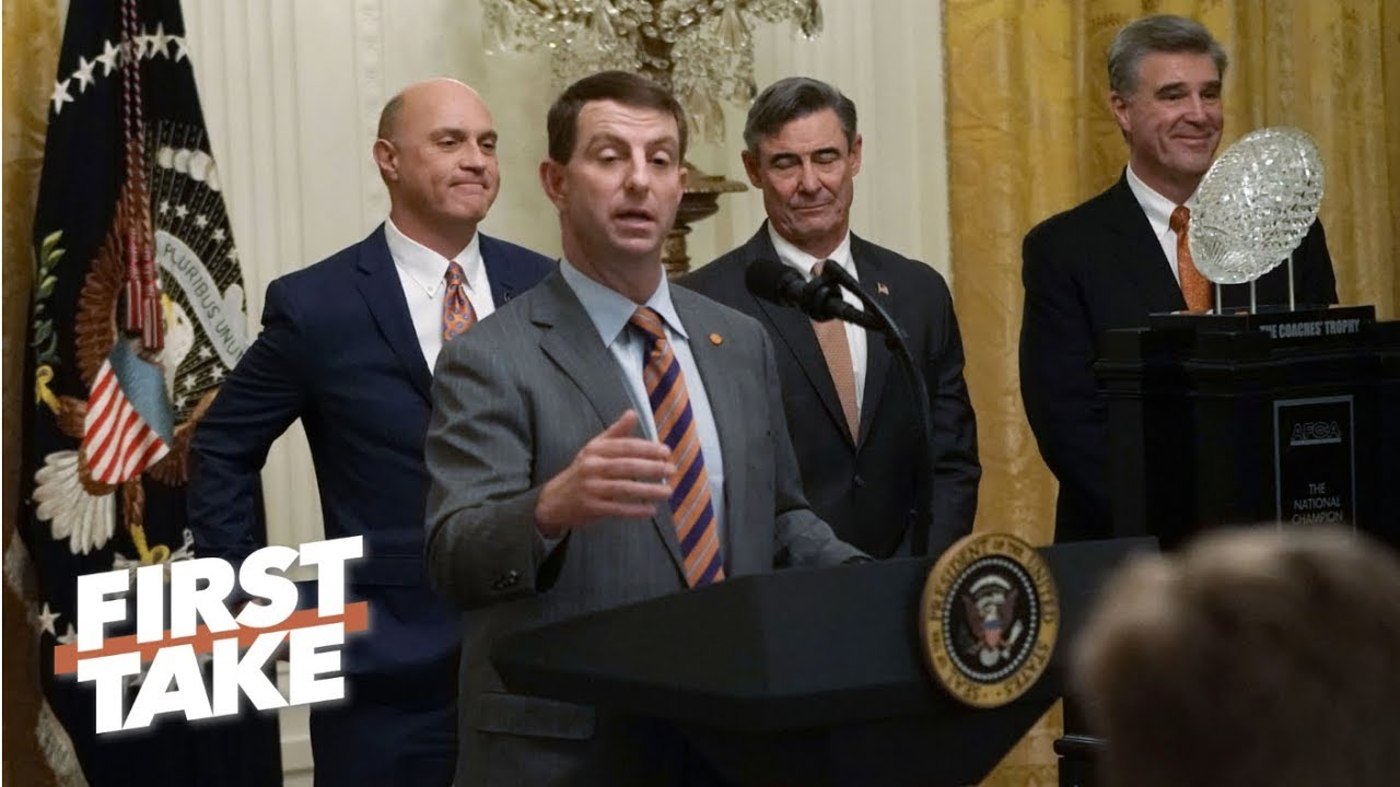 was-clemson-being-served-fast-food-at-the-white-house-disrespectful-first-take